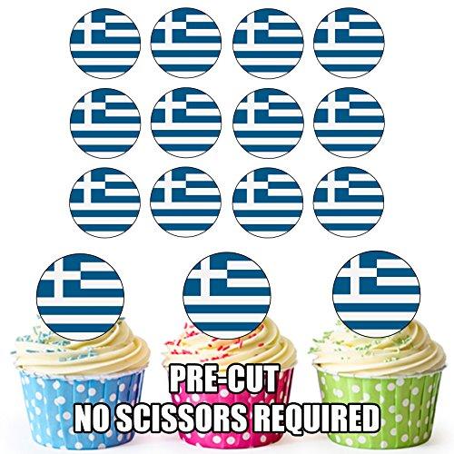Griekenland Vlag - 24 Eetbare Cupcake Toppers/Verjaardag Cake Decoraties - Easy Precut Circles