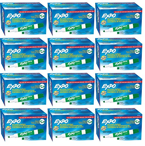 Expo 80004 Low Odor Dry Erase Markers, Chisel Tip, Green Color, 12 Sets with 12 Markers, Total of 144 Markers
