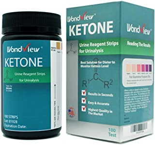 Wondview Ketone Test Strips: Testing Ketosis Based on Your Urine, 100 Ketone Urinalysis Tester Strips