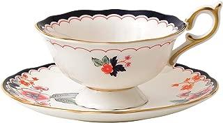 Wedgwood 40024022 Wonderlust Teacup & Saucer Set Jasmine Bloom, 2 Piece, Crimson Orient