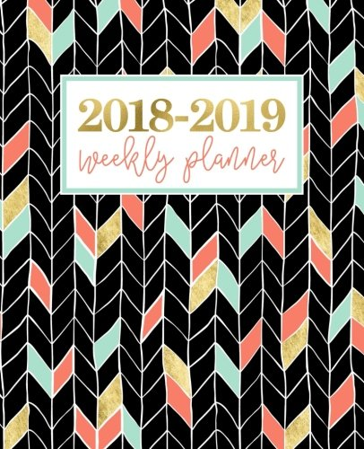 Download 2018-2019 Weekly Planner: Chevrons in Coral, Mint, Gold & Black 1640017623