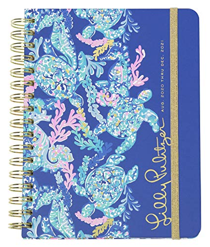 Lilly Pulitzer Large 2020-2021 Planner Weekly & Monthly, Dated Aug 2020 - Dec 2021, 17 Month Hardcover Agenda with Notes/Address Pages, Colorful Stickers, Pocket, Laminated Dividers, Turtle Villa