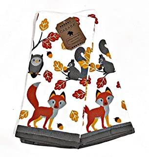 Casaba Whimsical Forrest Friends. Fox Owl Squirrel. Set of 2 Matching Kitchen Towels