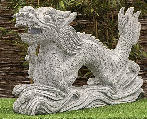 IDYL Figura de piedra de granito con forma de dragón, resistente a las heladas, longitud 100 cm, hecha a mano, decoración de jardín asiático, color gris, n.º 037-2