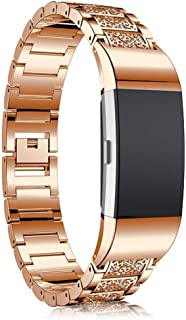 Womdee Bands Compatible Charge 3 & Charge 3 SE, Bling Rhinestone Stainless Steel Metal Replacement Strap for Fitbit Charge 3 Charge3 SE Fitness Tracker for Women Men Gold