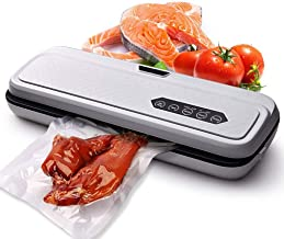 JIEGEGE Vacuum Sealer Machine, Food Saver Storage Automatic Air Sealing System Sous Vide Cooking Seal A Meal Dry Moist Modes, Built-in Cutter