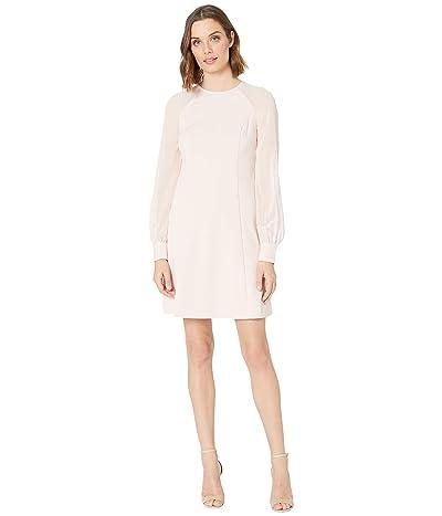 Calvin Klein Chiffon Sleeve A-Line Dress (Petal) Women