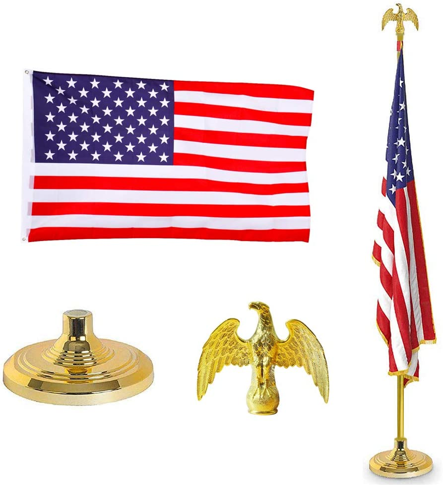 Supole National products Heavy Duty 8FT Telescoping Los Angeles Mall Indoor Kit with 3'x Pole Flag
