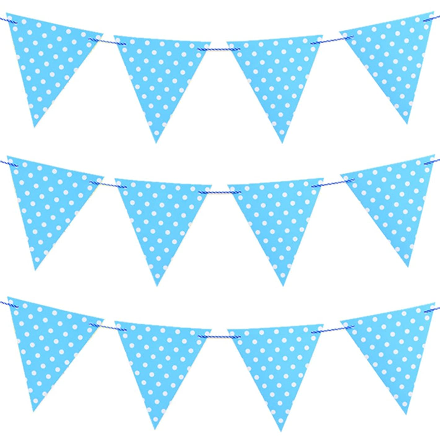 Joewyle Happy Birthday Party Supplies Banner for Baby Boys Birthday Party Decoration, Polka Dot Print Pennant Flag Banner Blue