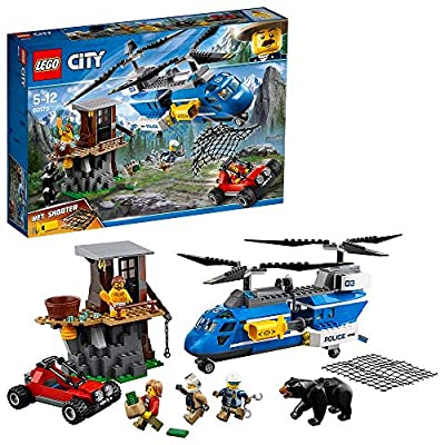 LEGO 60173 City Mountain Police Mountain Arrest Chase Chinook Helicopter with Net Shooter, Buggy, 3 Minifigures and Bear Figure, Adventure Sets for Kids