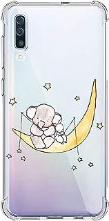Oihxse Silicona Funda con Samsung Galaxy A40 TPU Flexible Suave Transparente Protector Estuche Airbag Esquinas Reforzadas Ultra-Delgado Elefante Patrón Anti-Choque Caso (D3)