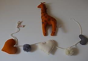 Jirafa pequeña de Fieltro natural y lana 100% merina