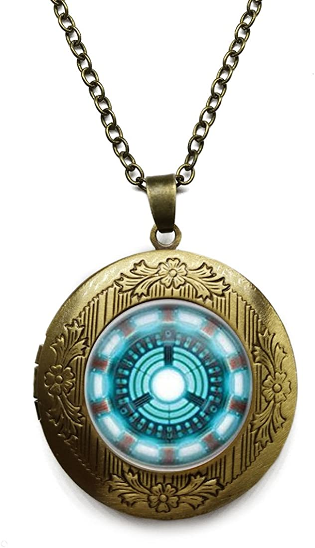 Vintage Bronze Tone Locket Picture Pendant Necklace Arc Reactor Vintage Statement Jewelry Best Friend Included Free Brass Chain Gifts Personalized