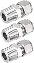 uxcell Stainless Steel Compression Tube Fitting 1/2-inch NPT Male x Ф1/2-inch Tube OD 3pcs