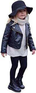 Clearance Sale Toddler Boys Girls Motorcycle Faux Leather Jackets Coat Winter Outwear for 1-5Y