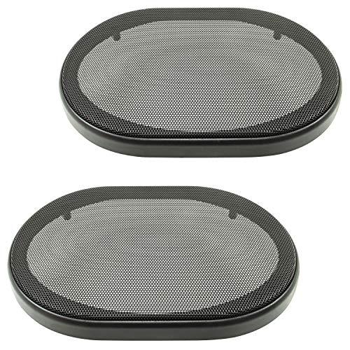 tomzz Audio 2800-004 Parrilla de Altavoces Parrilla para Altavoces de 6x9 Pulgadas, Negra, Anillo de plástico de 2 Piezas con Parrilla metálica, Juego