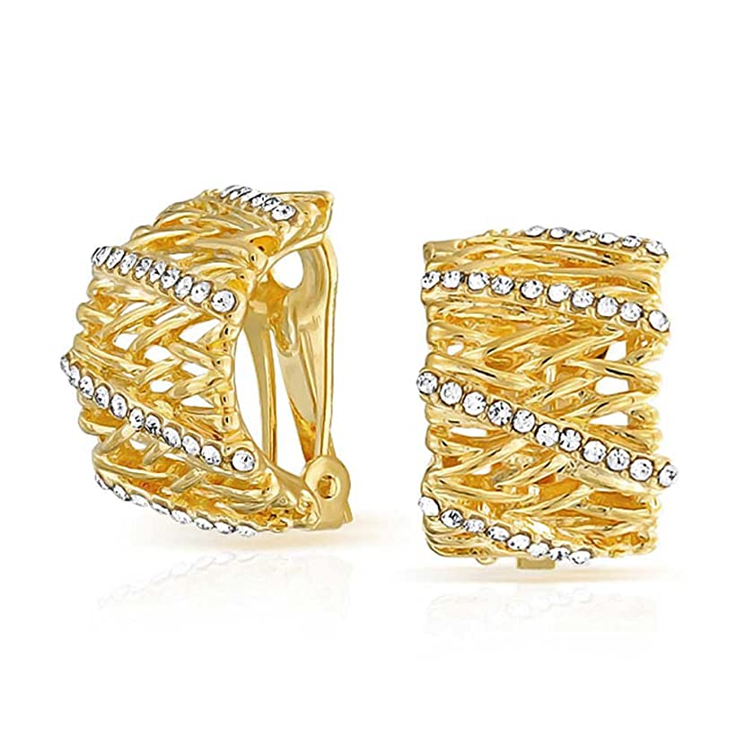 Twisted Cable Basket Weave CZ Wide Half Hoop Clip On Earrings For Women Non Pierced Ears 14K Gold Plated Brass