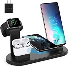 $23 » Wireless Charger for Airpods Pro, Aufixy 4 in 1 Wireless Charging Station with Apple Watch Stand and QC 3.0 Adapter for iWatch 5/4/3/2/1, Airpods 3/2/1, iPhone 11/11 Pro Max/XR/XS Max/XS/X/8/8P Black