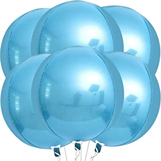 Light Blue Orbz Balloons for Birthday Decorations - Pack of 6 | Giant 22 Inch Big Round Foil Balloons | Large 4D Sphere Me...