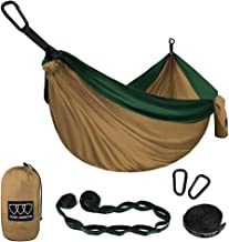 Gold Armour Camping Hammock - Extra Large Double Parachute Hammock (2 Tree Straps 32 Loops,20 ft Included) USA Brand Lightweight Nylon Adults Kids, Camping Accessories Gear