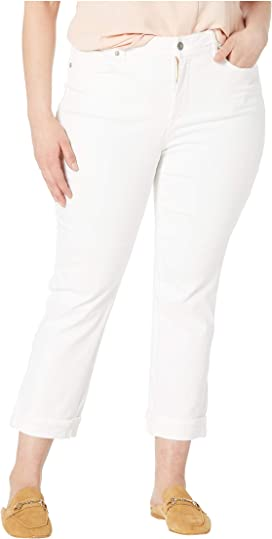 02115024b20 Plus Size Marilyn Straight Ankle Clean Cuff in Optic White. NYDJ Plus Size