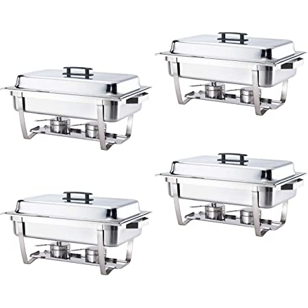 Details about  /6 Pack Full Size Chafer Dish Water 8 Qt Stainless Steel Food Pan and Fuel Holder