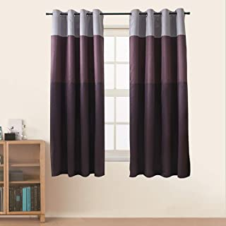 Jarl home Three-Color Stitching Blackout Curtains - Artificial Silk Blackout Window Drape Lined Double Curtains Grommet Top Curtain Panels for Living Room - 2 Panels (Purple, 52 x 63 inch)