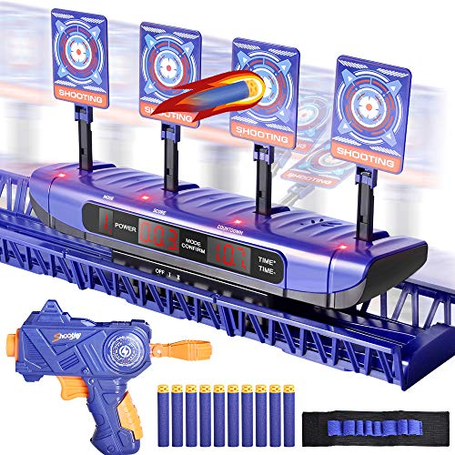 Digital Moving Shooting Targets with Foam Dart Toy Shooting Blaster  4 Targets Auto Reset Electronic Scoring Toys Shooting Toys for Age of 5678910 Kid/Boys/Girls Compatible With Nerf Guns Toy