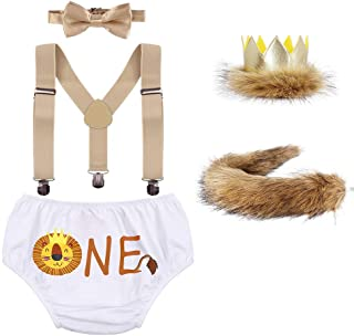 ODASDO Baby Boy 1st / 2nd Birthday Cake Smash Outfit Party Supplies Wild One Crown Plush Tail Bloomer Lion Costume Set