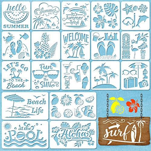 20 Piezas Plantillas de Verano de Playa Plantilla de Dibujo de Verano Reutilizable para Decoración de Piso de Pared de Muebles Pintura Rastreo DIY, 2 Tamaños y 20 Diseños