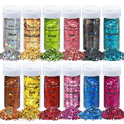 JEMESI 12 Colores Purpurinas Polvo, Chunky Glitter Flakes Paillette para Rostro Maquillaje de ojos Cabello body art