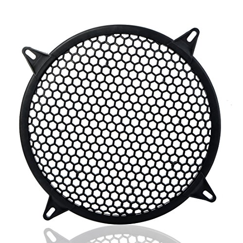 MeiBoAll Auto Speaker Parts Car Audio Sub Woofer Grille with 4 Screws 4 Mounting Brackets Black Waffle Grill Cover Guard Protector Grille 1 Pcs 10 Inch