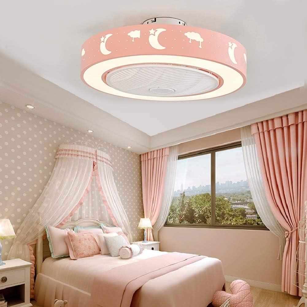 -Luces de Techo Ventilador de techo LED con kit de luces, lámpara de techo redonda regulable de montaje empotrado moderno, accesorio de luz de ventilador LED integrado con control remoto, 3 X aspas de