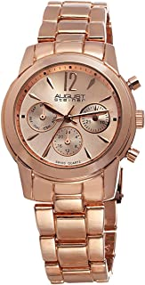 August Steiner Women's Swiss Fashion Watch - Day of Week, Date, and 24 Hour Subdial on Rose Gold ToneStainless Steel Oyste...