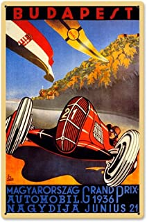 Losea Budapest Grand Prix Vintage Tin Signs Metal Poster Auto Motorcycle Gasoline Garage Shop Bar Home Wall Decoration 8 x 12 Inches