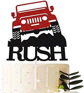Off Road Jeep Cake Topper, Monster Truck Rush Jeep Adventures Bon Voyage Birthday Baby Shower Party Cake Supplies Decorations