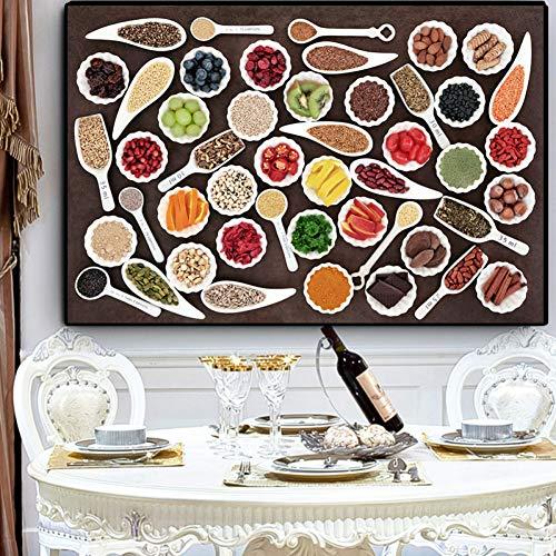 ZWBBO Decoratief schilderij, specerijen, lepel, peper, canvas, schilderij voor keuken en druk, wand, soort levensmiddelen, afbeelding voor leven Robo