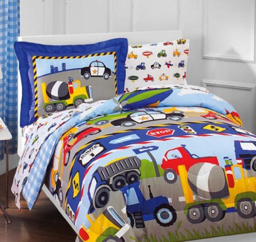Construction Trucks, Police Cars, Tractors, Boys Twin Comforter Set (5 Piece Bedding)