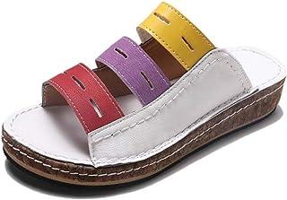 Women?s Memory Foam Slide Slippers, Slip-on Open Toe Cross Brand House Shoes with Anti-Skid Rubber Sole Beach Flip Flops W...