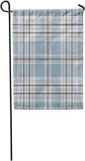 "Semtomn Seasonal Garden Flags 28"" x 40"" Blue Check Tartan Plaid Pattern Traditional Checkered for Digital Gray Grey Golf Outdoor Decorative House Yard Flag"