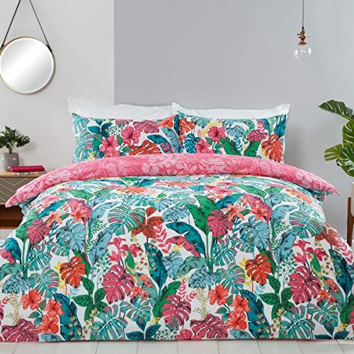 Sleepdown Tropisch Jungle Leaf Bloemen Teal Wit Roze Omkeerbaar Zacht Gemakkelijk Onderhoud Dekbedovertrek Quilt…