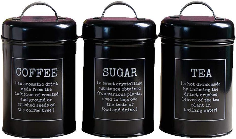 WillowswayW 3Pcs Set Coffee Virginia Beach Mall Surprise price Tea Canister Jar Food Sugar St Spice