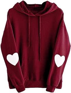 DongDong Women Fashion Pullover Long Sleeve Heart Hoodie Sweatshirt Jumper Hooded Tops