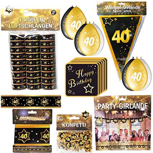 Geschenkeparadies 24 59 Teile zum 40. Geburtstag Deko Set Schwarz/Gold Dekoration