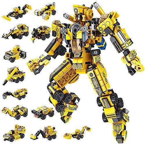 VATOS Roboter Bausteine Spielzeug ab 6 7 8 9 10 Jahren für Jungen, 573 Teile Konstruktionsspielzeug 25-in-1 STEM Gebäude Lernspielzeug Baukasten Pädagogisches Geschenk für Jungen und Mädchen (GELB)