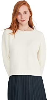 Oversized Pullover Cotton Cashmere Chunky Knit Seed Stitch Square Cut Crewneck Sweater for Women