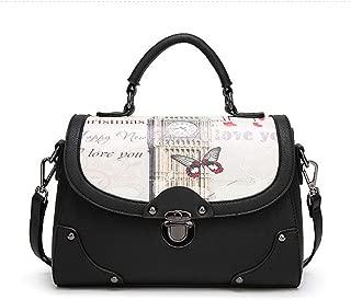 Fashion New Retro Casual Fashion Bills Shoulder Slung Female Bag Bucket Bag PU Female Bag (Color : Black)