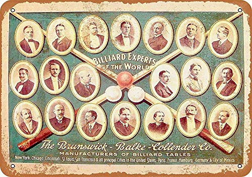 WallAdorn 1920 Brunswick Billiard Experts Sign Flammable Iron Poster Painting Tin Sign Vintage Wall Decor for Cafe Bar Pub Home