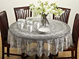 Fennco Styles Classic Crochet Vinyl Tablecloth, 2 Colors - 72' Round (Beige)