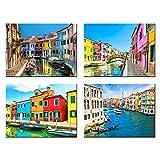Lienzo moderno pintura paisaje de Venecia arte de pared póster impresión hermosa ciudad río imagen decoración del hogar para dormitorio 40X60cmx4 16x24x4 pulgadas sin marco